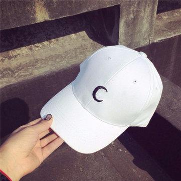 Мужчины Женщины Белая лунная шляпа Хип-хоп Kpop Спорт Изогнутая ремешок с регулируемой бейсбольной кепкой