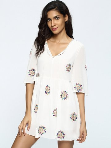 Casual Floral Print Half Sleeve V-neck Mini Dress For Women