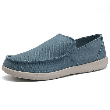 Men Canvas Pure Color Breathable Light Weight Slip On Casual Loafers