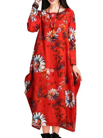 O-Newe flor suelta impresa vestido de manga larga de vestido de bola para las mujeres