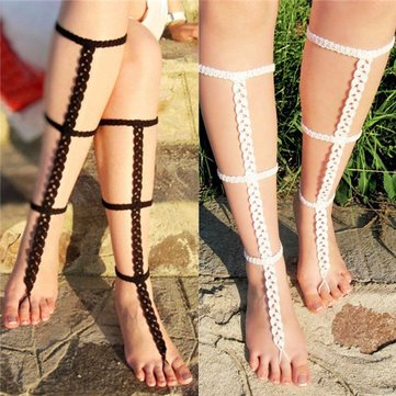 Barefoot Sandals Crochet Foot Jewelry Anklet Wedding Beach Ankle Chain Cross Hot