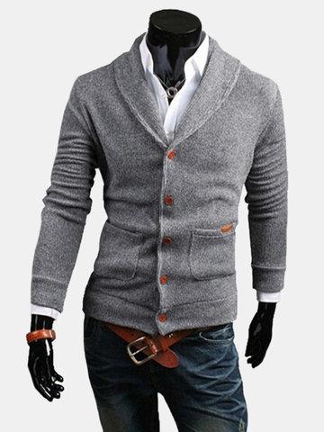 Мужская весна Autunm трикотажные свитера V-образным вырезом кнопки хлопок свитер кардиган