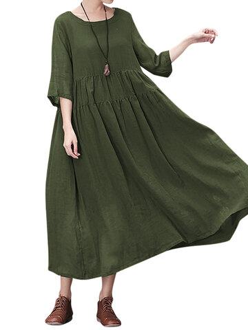 Gracila Pure Color Loose Dresses