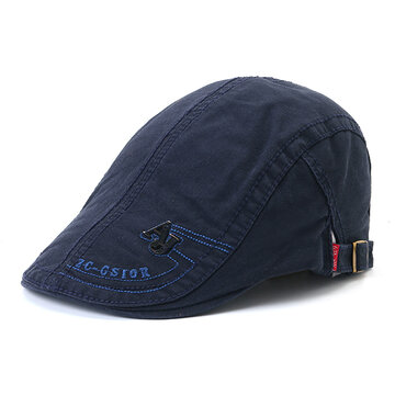 Men's Cotton Embroidery Adjustable Beret Cap