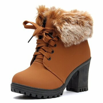 Fur Lining High Heel Booties Platform Ankle Lace Up Boots