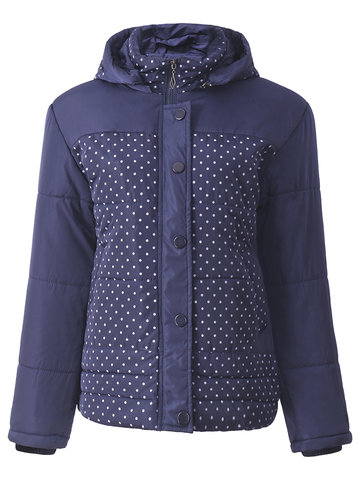 Women Polka Dots Long Sleeve Hooded Warm Down Coats