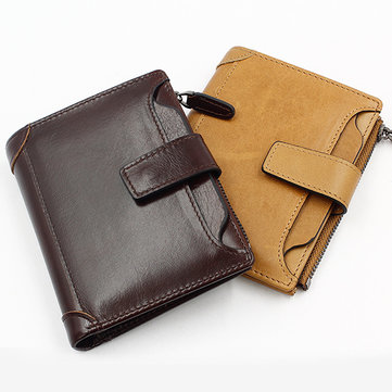 Wax Oil Skin Wallet Genuine Leather Card Holder Vintage 6 Card Slots Coin Bag For Men
