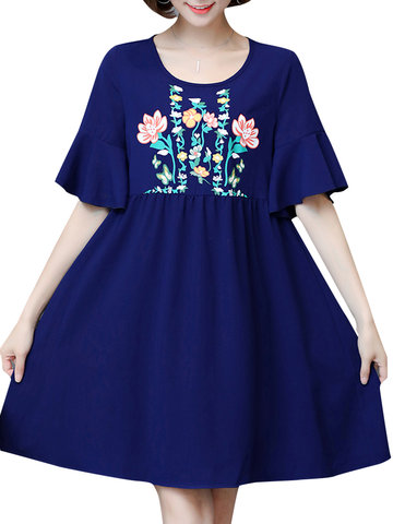 Casual Flower Printed Trumpet Sleeve O-Neck Women A-Line Dress