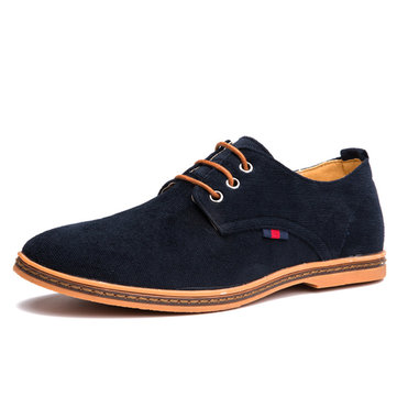 Big Size Men Casual Suede Corduroy Breathable Lace Up Oxford Shoes
