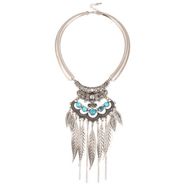 Bohemian Metal Turquoise Tassel Necklace
