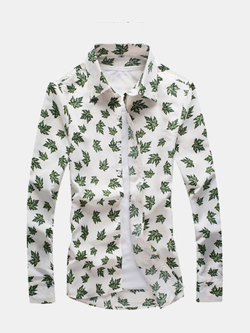 Mens Spring Fall Green Leaf Printing Turndown Collar Long Sleeve Slim Fit  Casual Shirts