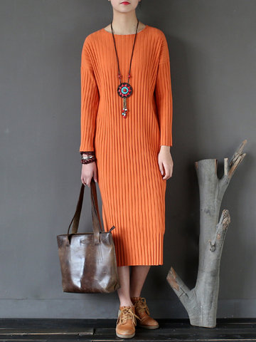 Casual Women Long Sleeve Pure Color Knitted Mid-Long Dresses