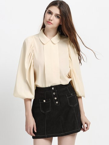 Chiffon Loose Lantern Sleeve Lapel Shirt For Women