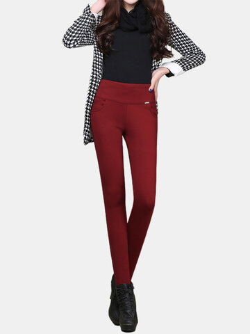 Women High Waist Pure Color Velvet Pocket Thicken Autumn Winter Pants