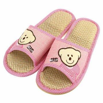 Unisex Cute Bear Open Toe Slip на плоской крытой домашней обуви