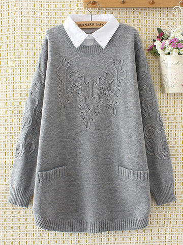 Casual Lapel Pockets Sweaters Fake Two Pieces For Women