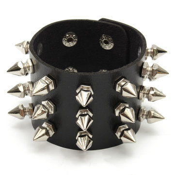 Rock Four Row Rivet Leather Bracelet