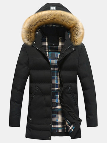 Detachable Fur Hooded Solid Color Mid Long Thicken Jacket