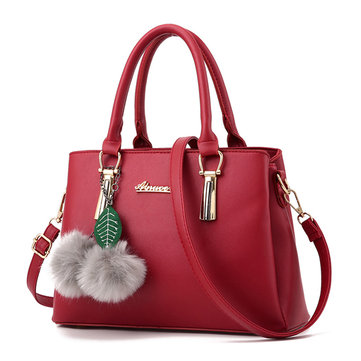 Women Elegant PU Cute Plush Ball Handbag Clutches Bag Crossbody Bag