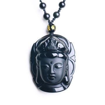 Черное обсидианное высеканное ожерелье Кван-инь