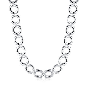 Silver Plated Necklace Square Hollow Circle Necklace