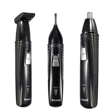 KEMEI 3 In 1 Rechargeable Electric Nose Hair Ear Trimmer Shaver Removal