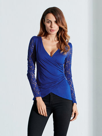 Sexy V Neck Lace Patchwork Fold Side Zipper Blouse For Women