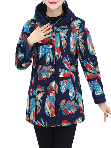 Vintage Women Printed Long Sleeve Hooded Button Coat