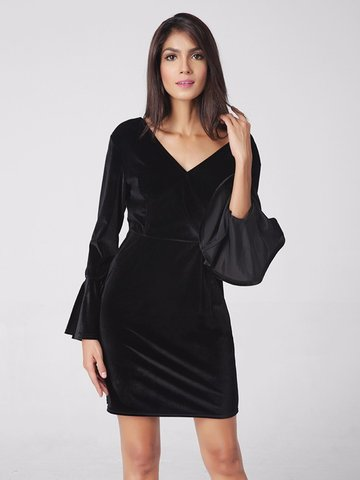 Lztlylzt Women Sexy Pleuche Horn Sleeve Backless Mini Dress