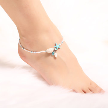 anchor anklet starfish silver for bohemian newchic c leather pearl womens anklets gold