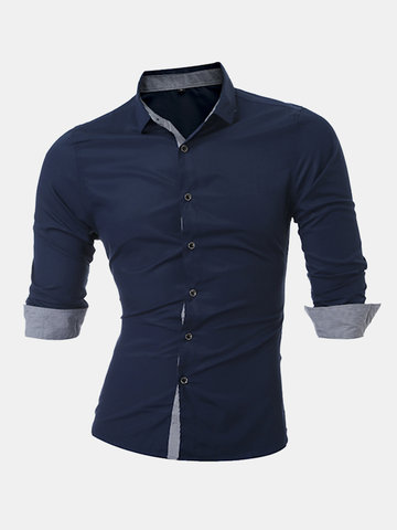 Plus Size Casual Fashion Solid Color Breathable Slim Long Sleeve Dress Shirts for Men