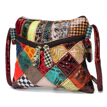 Casual Patchwork Colorful Genuine Leather Crossbody Bag Shoulder Bags For Women