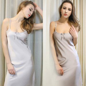 Сексуальный шелковый стиль спагетти ремень кружева Nightdress мягкой пижамы для женщин
