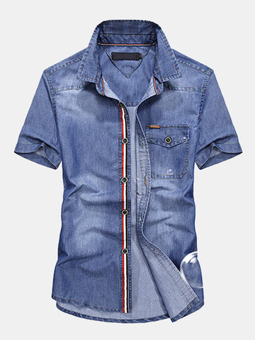 AFSJEEP Verão Pure Cotton Short Sleeve Patchwork Plus Size Loose Casual Shirt for Men