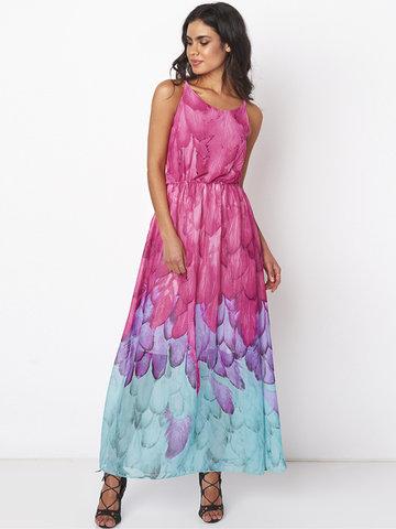 Gracila Feather Print Backless Sleeveless V Neck Chiffon Dresses For Women