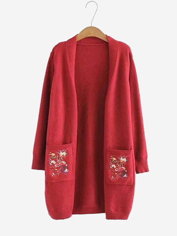 Embroidered Pocket Long Sleeve Cardigans