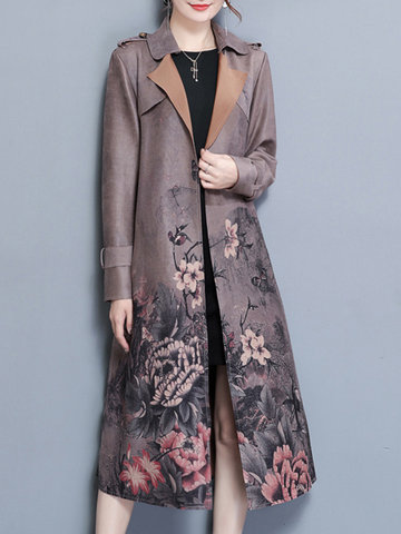 Suede Floral Women Mid-long Jackets
