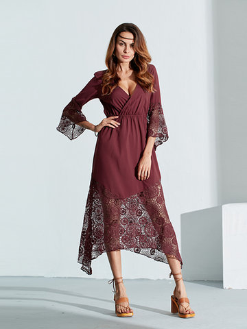 Boho Lace Patchwork Hollow Out Beach Sexy V-neck Dress For Women