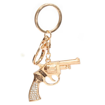 Crystal Gold Gun Shaped Pendant Keychain