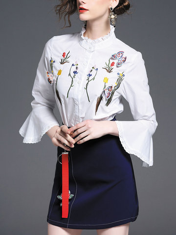 TangJie Broderie Trompette Manches Blouses Minijupes Combinaisons Femme