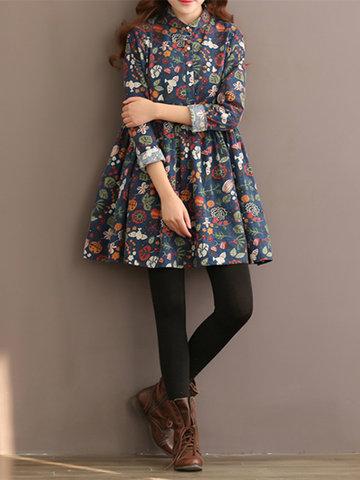 Women Vintage Single-Breasted Floral Printed Long Sleeve Dresses