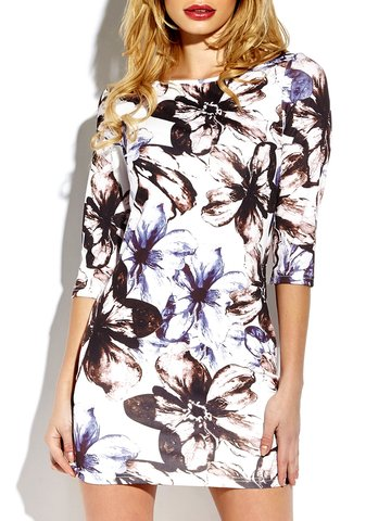 Floral Print Bodycon 3/4 Sleeve O-neck Mini Dress For Women