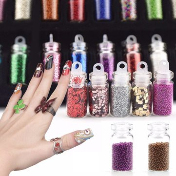 48 цветов 3D Nail Art Rhinestones Blitter Paillette Powder Acrylic Tips Decoration Manicure