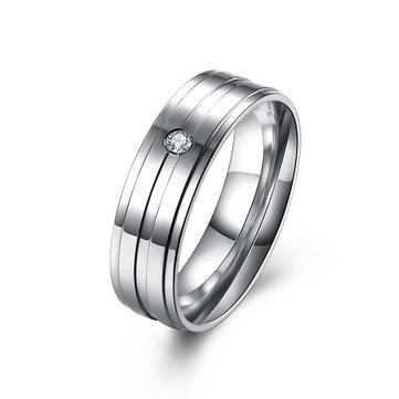 Simple Couple Ring Stainless Steel Zircon Wedding Ring for Couple Gift