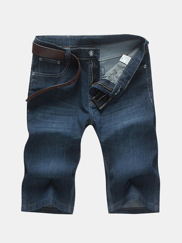 Summer Casual Knee Length Stretch Jeans Straight Loose Cotton Plus Size 30-46 Shorts For Men