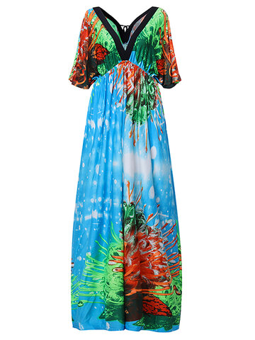 Plus Size Bohemian Floral Printed V Neck Backless Maxi Dress