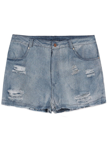 Women Ripped High Wasit Denim Shorts Slim Jeans
