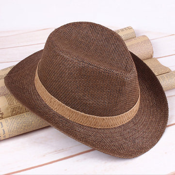 Mens Summer Breathable Straw Fedoras Jazz Caps Casual Sunscreen Beach Hat Cowboy Hat