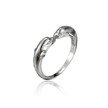 Adjustable Silver Plated Double Dolphin Opening Ring