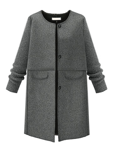 Elegant Women Patchwork O Neck Long Sleeve Woolen Coat